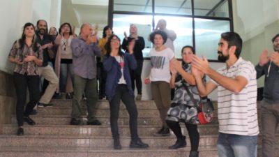Manifestación de trabajadores de Arba contra el descuento por uso de licencias