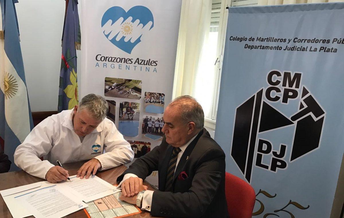 Convenio de colaboración entre el Colegio de Martilleros y Corazones Azules Argentina