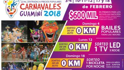 Guaminí / Los carnavales artesanales sortearán tres 0 km y 600 mil pesos en premios ¡Imperdibles!